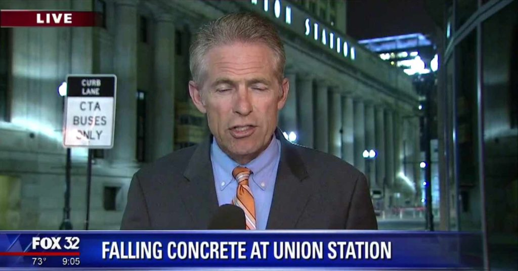 Falling Debris At Chicago's Union Station Cracks pedestrians skull